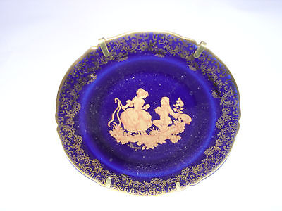 Vintage 1 pcs Limoges Porcelain Plate Art Cobalt Blue 24K Gold Trim And Lovers
