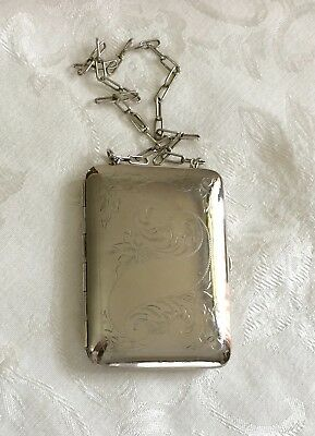 Antique German silver coin & note holder purse with compact compartment NB Co.