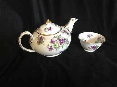Vintage Royal Chelsea England - Violets Tea Pot And Cup - Bone China