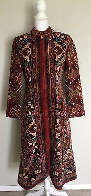 Vintage 60s Adele Simpson Mod PsychedelicTapestry Moroccan Dress Coat XS Petite