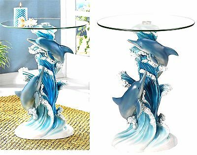 Sculpted Artistry Playful Dolphins Accent-End-Side-Night Table * Nib