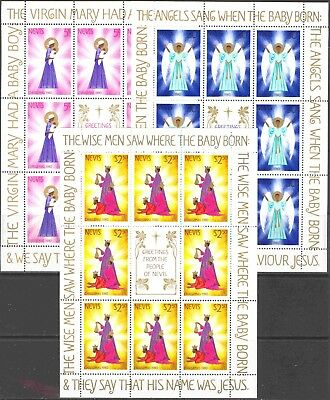 1980 Nevis #118-120 Mint Never Hinged Miniature Sheets of 8 Christmas Stamps