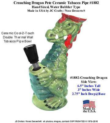 Crouching Pete Dragon bong Hookah Rumph Ceramic Glass Tobacco Pipe 1882 Made USA