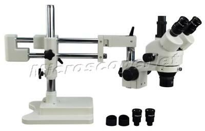 Trinocular 3.5X-90X Dual-bar Zoom Stereo Trinocular Microscope+5 Years Warranty