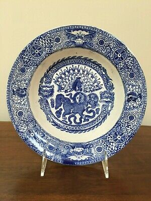J & M P Bell & Co MAKASSAR Dragon Blue Transfer Soup Bowl c. 1890