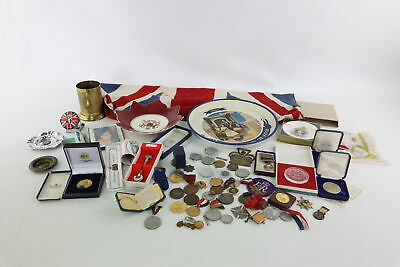 Job Lot of Vintage Mixed Commemorative Items Inc. Medals, Trays & Ash-Trays etc