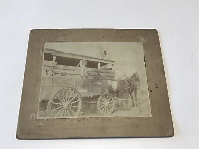 Vintage Horse Drawn Wagon Cabinet Card- Children-Man-Old Hickory Wagon