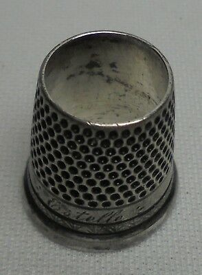 Vintage Antique Sterling Silver Tailors Thimble  Open Top ESTELLE MONOGRAM # 8
