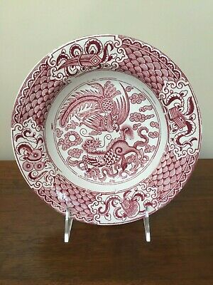 J & M P Bell & Co KEELIN HONG Dragon Phoenix Red Transfer Bowl c. 1890 (A)