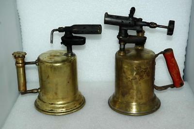 2 Antique Vintage Brass Blow Torches Tool Clayton Lambert