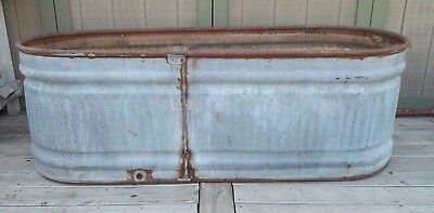 "WATER TANK TROUGH Vintage Galvanized Livestock FS FEED 70""L Kitchen Island/BAR"