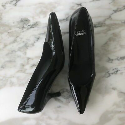 Stuart Weitzman Kitten Heel Pumps Size 6 Black Patent Career