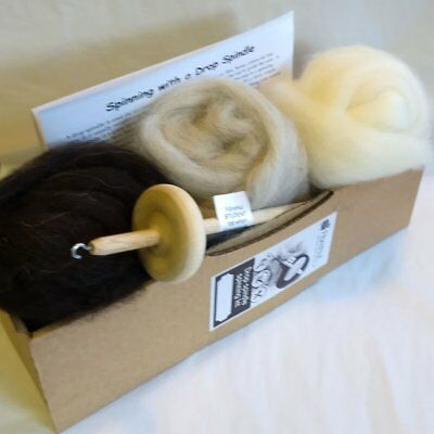 Hand spinning kit with lovely handmade drop spindle, 3 wool tops & instructions