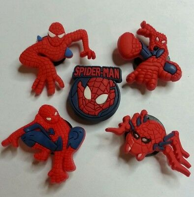 Spider-Man 5pc SHOE CHARMS LOT FOR CROC SHOES JIBBITZ BRACELETS Superhero Set