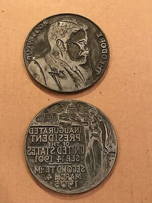 Vtg 1905 Theodore Roosevelt President Inaugural Medal Printers Block Lot Of 2