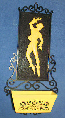 Vintage 1950's Plastic Wall Pocket With Male Dancer