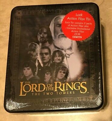 Lord of the Rings The Two Towers Action Flipz Tin w/ Card Packs NEW sealed