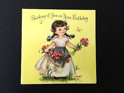 Vintage Marjorie COOPER Rustcraft Birthday Greeting Card Girl With Flowers~ Used