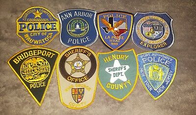 Lot of 8 Police Sheriff Fire EMS Patches Various Agencies 8/18 - 019