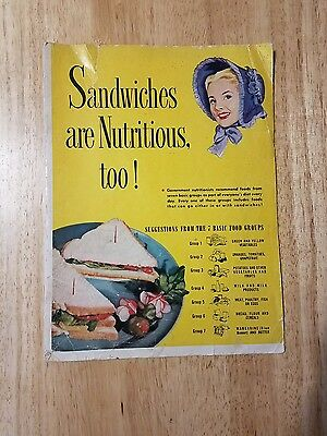 VTG 1951 Blue Bonnet Margarine Sandwiches are nutritious too! cookbook