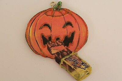 JOL Eating Candy Bar Ad * Halloween Ornament * Vtg Image * Glitter