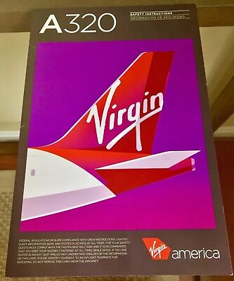 Rare Safety Card - VIRGIN AMERICA Airbus A320 Defunct Alaska Airlines 2016