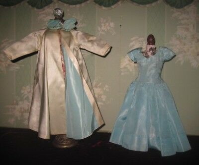Fabulous Vintage Madame Alexander Cissy Doll Tagged Aqua Taffeta Dress & Coat!
