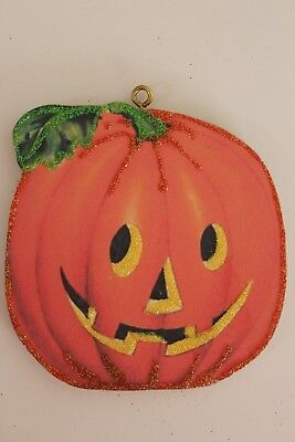 Cute Jack O Lantern * Halloween Ornament * Vtg Card Image * Glitter