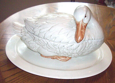 Vintage Fitz & Floyd Duck Goose Swan Tureen Soup Bowl With Platter 1970s Pottery
