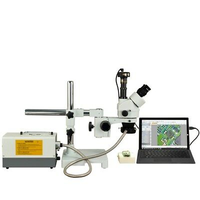 3.5X-90X Stereo Zoom 9.0MP Digital Boom Stand Trinocular Microscope+Fiber Light