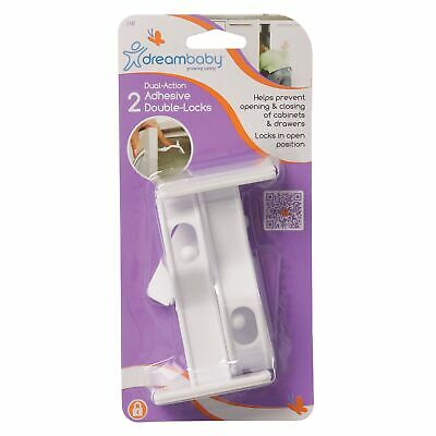 Dreambaby Baby / Child Safety Adhesive Cupboard Double Locks - 2 Pack