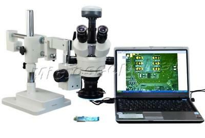 2X-90X Zoom Stereo 144 LED Trinocular Boom Stand Microscope+9.0MP Digital Camera