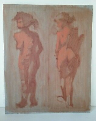 Abstract Nude Female Woman Girl Painting Modernist Unsigned Views Front Backside