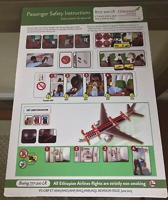 Rare Safety Card - ETHIOPIAN AIRLINES Boeing 777-200 LR Mint Ethiopia
