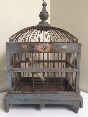 Antique Bird Cage Hand Painted Wood Wire Vintage Hanging Bird Pull Out Tray