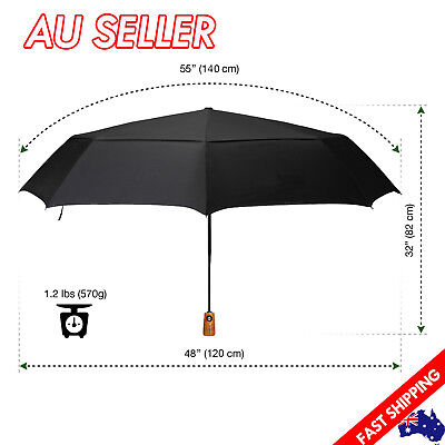 Golf Umbrellas Black Automatic Open&Close Windproof Travel Compact Folding 55""