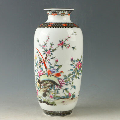 Chinese Porcelain Hand-painted Flower & Bird Vase W Qianlong Mark R1175