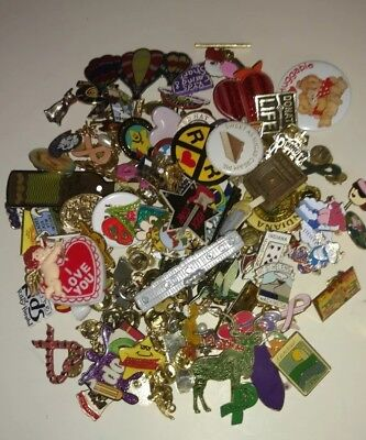 Huge Lot Of Lapel Pins, Pinbacks, Buttons 125 + Pieces Vintage To Today