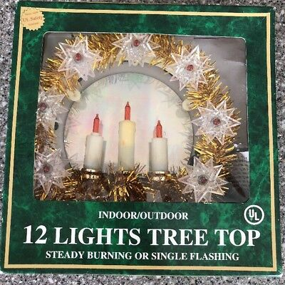 Vintage Golden Candles 12 Light Mini Christmas Tree Top Topper Clear Red Bulbs