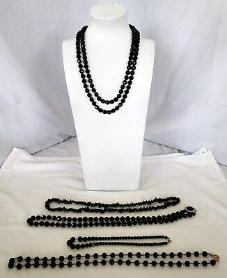 Lot of Vintage jet jewelry black glass beads + more necklaces 5 total