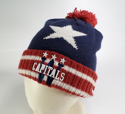 ... buy washington capitals stocking hat cap reebok center ice pom knit nhl  hockey blue ab825 2ef76 e475166f9cf3