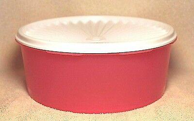Tupperware SERVALIER COOKIE SNACK STACKING CANISTER 8 Cup ~ Pink Punch ~ NEW!