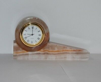 Antique Vintage White Onyx Office Desktop/Table Clock with Brass Timepeice