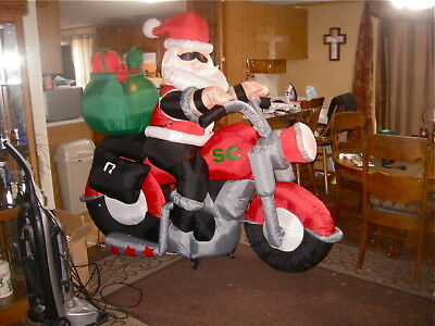 Gemmy 7 Feet Long Santa on Harley Motorcycle Airblown Inflatable Christmas Yard