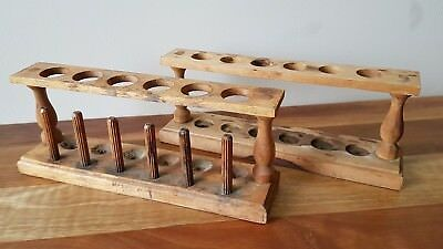 Vintage Wooden Test Tube Stands x 2 Collectable Science Medical Lab Equipment