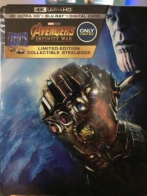 AVENGERS: INFINITY WAR STEELBOOK 4k Ultra HD/Blu-ray/Digital Code BEST BUY EXCL