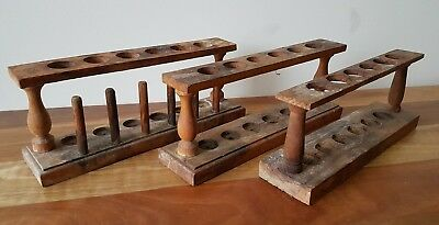 Vintage Wooden Test Tube Stands x 3 Collectable Science Medical Lab Equipment