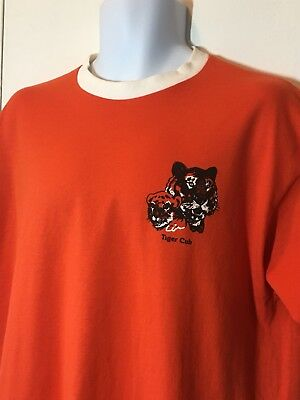 Vintage 80s Orange Tiger Club BSA Boy Scouts of America T Shirt Size Large