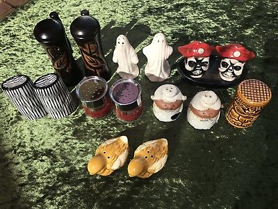 Bulk Lot of 8 Vintage Salt & 7 Pepper Shakers - 7 pairs plus 1 salt