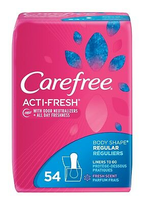 4 CareFree Acti-Fresh Body Shape Regular Unscented Liners 54 Count*******
